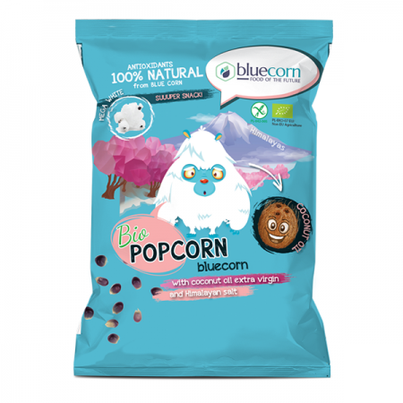 Organic Blue Corn Popcorn with extra virgin coconut oil and Himalayan salt